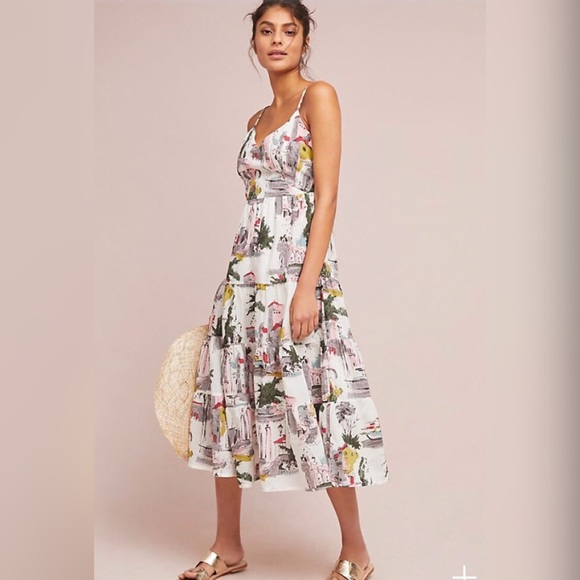 f75c0fb659c2 Anthropologie Dresses & Skirts - Lazybones Cityscape White Patterned Midi  Dress